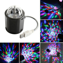 USB Mini RGB Unique 2 in 1 LED Auto Rotating Party DJ Disco Stage Lighting + White Led Desk Lamp Free Shipping(China)
