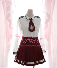 Cute Women's Military Uniform Style Long Sleeve Cotton Blouse With Necktie Lolita Shirt Tops Harajuku Navy blue/ Wine