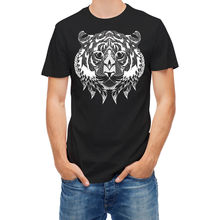 2017 Newest Casual Tiger Head Line Art Patterned 24448 3D Print Men's 100% Cotton Tee Shirt High Quality Short Sleeve Tees(China)