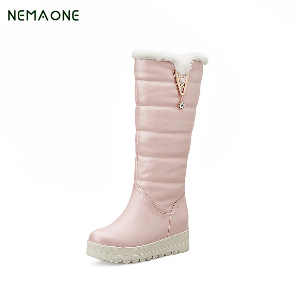 NEMAONE 2017 snow boots wedges heels slip on women winter boots fur inside mid calf boots sweet shoes<br>