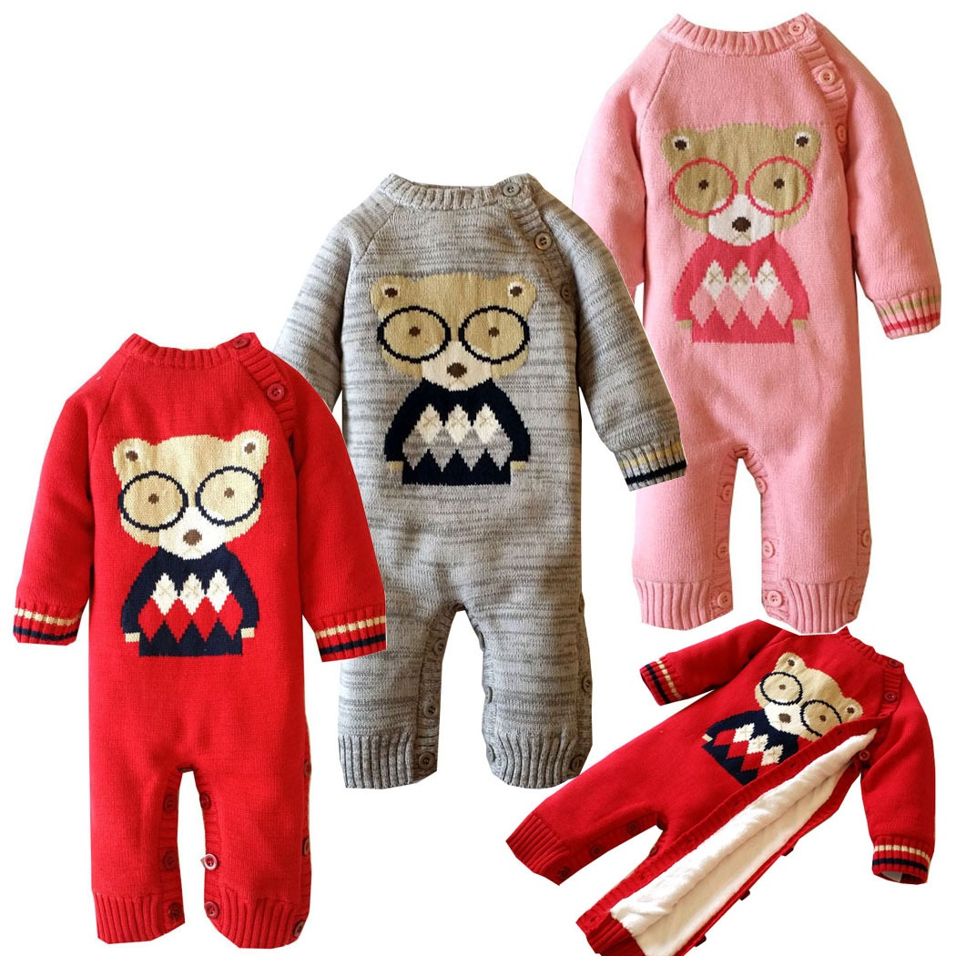 Plus Velvet Baby Rompers Winter Cotton Bear Pattern Baby Clothing 0-2 Years Newborn Infant Girls Costume Warm Toddler Clothes<br>
