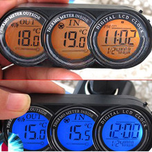 LCD Led Digital Screen In out door Car Thermometer Clock Calendar 3in1 backlight Electronic Time Multifunction 3 in 1 HT145