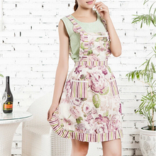 1pcs 76*58cm Women Restaurant Home Kitchen apron Flower Printed Pocket Lace Cooking Cotton Apron