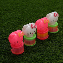 Colorful Led Hello Kitty Rainbow Stretching circle Cartoon portable lantern 12pcs/lot bouncing toys party Christmas decoration