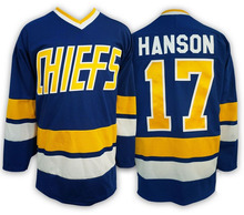 Hockey Jersey 17 Hanson Brothers Jersey Charlestown Chiefs Ice Hockey Jersey White Blue All Stitched Movie Jerseys Free Shipping(China)