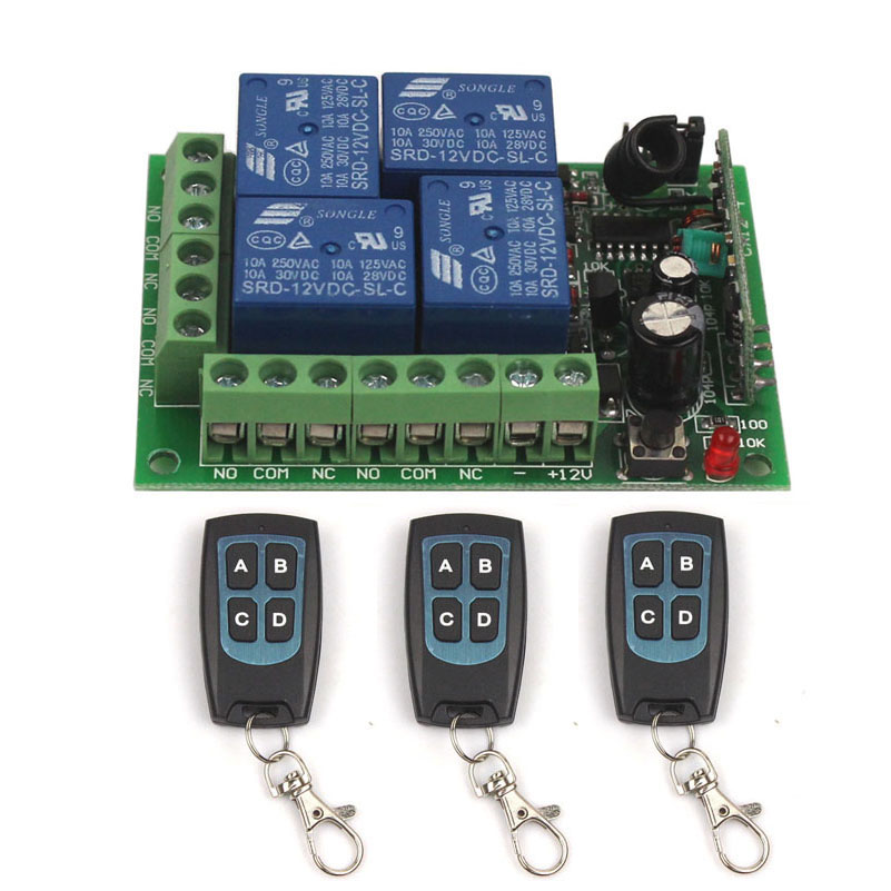 12V 4CH Wireless Remote Switch Universal Remote Control Relay Switch 12V 4 Channel Relay Module Box Board 315433MHz (3)
