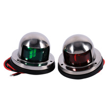 Stainless Steel 12V LED Marine Boat Yacht 1 Pair Red Green Bow Navigation Light Sailing Signal Lights