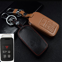 Car Genuine Leather Bag Remote Control Car Keychain Key Cover Case For Volvo V60l S80L XC70 5Buttons Smart Key l1023