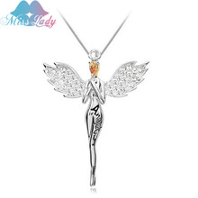 Miss Lady New Gold color Zircon Crystal design Angel wings Necklaces Pendants  fashion necklaces for women 2017 Jewelry ML2504