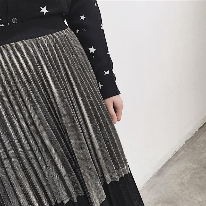 [GUTU] Autumn Summer 2018 Korean New Fashion Patchwork Color Bottoms All-match Elastic Waist Pleated Skirt Loose Women F89201 29