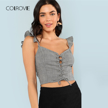 Buy COLROVIE Lace Front Ruffle Trim Plaid Crop Top 2018 New Summer Sleeveless Straps Women Clothing Music Festival Rock Tank Top for $8.99 in AliExpress store