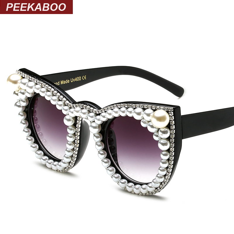 Peekaboo Fashion luxury rhinestone cat eye sunglasses women brand designer oversized cat sunglasses pearl ladies party black<br><br>Aliexpress