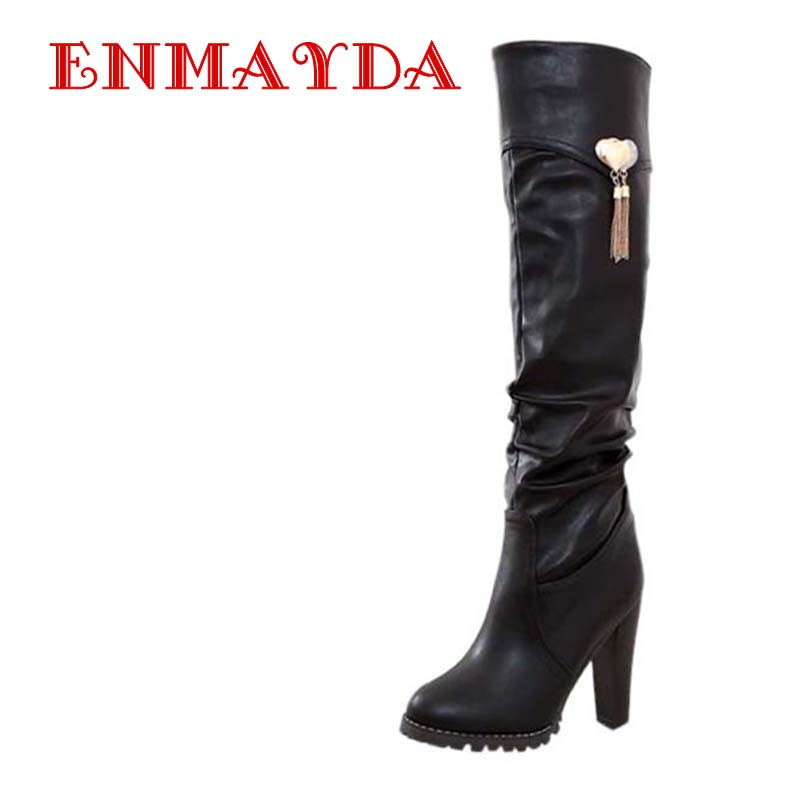 Black Brown White Boots Round Toe Fashion Knee-High Boots For Women New Hot Square heel High Boots Winter Soft Leather<br>