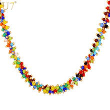 U7 African Coral Bead Necklace Women Fashion Jewelry Wholesale Trendy 2 Size Colorful Bead Necklaces Pendant N470(China)