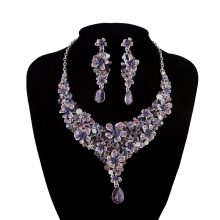Bridal wedding necklace earrings set Purple flower design rhinestone crystal jewelry set Women party Dress Earrings sets