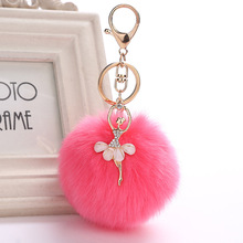 PINXIU New Rabbit Fur Ball Keychain Bag Pendant Fur Ball Plush Ballet Girl Key Chain Metal Key Holder Rabbit