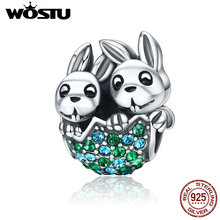 WOSTU New 925 Sterling Silver Easter Bunny Rabbit Animal Beads Fit Original pandora Charm Bracelet DIY Jewelry Gift CQC201(China)