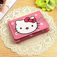 Girls PU Leather Purse Hello Kitty Pattern Clutch Short Wallet Handbag Pink/Red Color