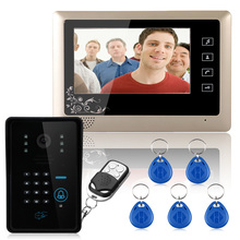 "Free Shipping! Wired 7"" Video Door Phone Intercom System RFID Keypad Code Number Doorbell Camera Monitor1000TVL Wireless unlocks(China)"