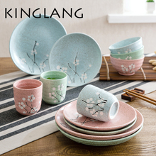 1 person dinner set (dish,plate,cup,bowl) Western food steak plate ceramic plate Creative utensils soup bowl of fruit dish(China)