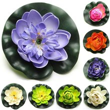 Boutique 8pcs Foam Water Lily Flower Decor Artificial Floating Pond Plants Multicolor(China)