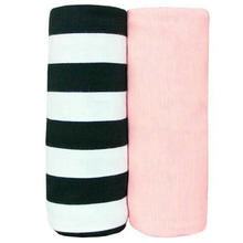 100% Cotton Swaddling Blanket Large Baby Swaddle Blanket Receiving Blanket Comfortable Bedding Pink & Black White Stripe (2Pack)
