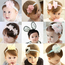 31 Colors! New Fashion Cute Lace Flowers Rhinestone Girls Headband Hairbands Girls Headwear Kids Hair Accessories(China)
