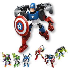 Super Hero Avengers Iron Man Captain American Batman Hulk Clown Action Figure Toy Building Blocks Educational Toys For Kids(China)