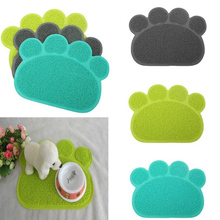 Cute Lovely Design PVC Dog Paw Shape Cup Placemat Pet Puppy Cleaning Feeding Dish Bowl Table Mats Pad Wipe Easy Cleaning