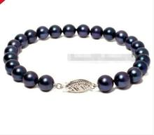 free shipping  Wholesale price New9-10MM BLACK AKOYA PERALS BRACELET 7.5'' 925S CLASP