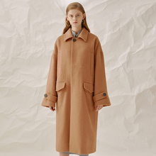 New Arrival Autumn and Winter 2017 fashion casual loose long overcoat women alpaca wool coat camel(China)