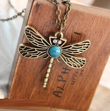 XL042 European and American vintage dragonfly wings and a long section of hollow imitation gemstone necklace sweater chain