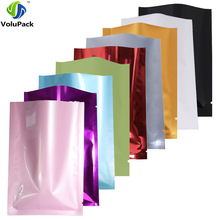 Variety of Sizes recyclable packing bag heat sealing open top aluminum foil Vacuum Package Pouch red flat Mylar bag 100pcs/lot