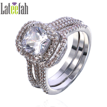 Lateefah Three Pieces Women Wedding Rings Set Thin Band Large Stone White Gold Color Diamonique Cubic Zirconia Anel Feminino