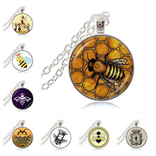 Yellow Queen Bee Necklace Honeybee with Honeycomb Photo Jewelry Glass Cabochon Entomology Pendant Silver Bronze Chain Necklace