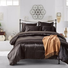 2-4 Pieces Duvet Cover+sham set Solid Color Duvet Cover set Silk Like Double Queen King Black Gold Silver Grey