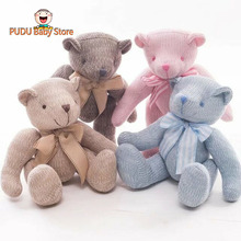 Hot Plush Teddy Bear Toy Wool Stuffed Bear Cottone Rope Joint Ted Bear Doll With Bowtie Kids Toy Baby Girls Gift