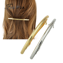 FANHUA New  Fashion Hair Jewelry Gold-Color Silver Color Simple Geometric Barrettes Hairwear for Women