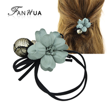 FANHUA  Retro Hair Accessories Black Elastic Rope Headbands Colorful Ribbon Flower Decoration Headwear Accessories Women