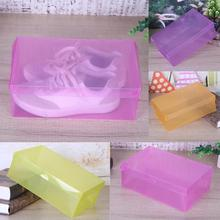 Wholesale 10Pcs Transparent Makeup Organizer Clear Plastic Shoes Storage Boxes Foldable Shoes Case Holder 28x18x10cm(China)