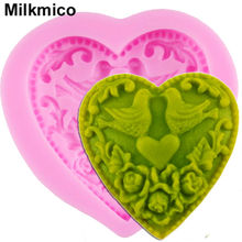 Milkmico F1014 New Baking Heart Shaped Love Bird Cake Fondant Mold Wedding Cake Decorating Mold Silicone Decoration Cake Mold(China)