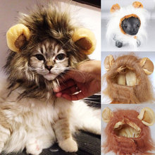 Autumn Winter Pet Funny Cute Costume Lion Mane Wig For Dog Cat Halloween Xmas Dress Up With Ears Cap Hat TB Sale(China)