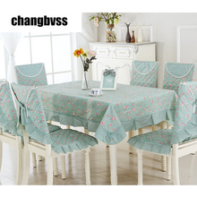Spring Style Green Table Cloth 9pcs/set Chair Mat+Chair Cover+Tablecloth Set Home Party Wedding Tablecloth toalha de mesa(China)