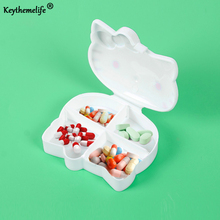 Keythemelife Hello kitty Medical kit 4 Sections Pill Storage Box Compact Kit Medicine Box Drugs for Travel C3(China)