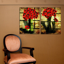 2 Panel Set Old Design Vintage Still Life Oil Painting On Canvas Red Flower Vase Decorative Pictures For House Wall Decoration