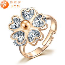 5 Valve Flower Gold Color Crystal Adjusted Ring New Classic Luxury Fashion Ring Women CZ Finger Rings for Party Wedding(China)