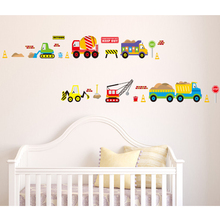 Cars Train Crane Hook Machine Forklift Wall Decal Home Sticker Paper Art Picture DIY Murals kids Nursery Baby Room Decoration
