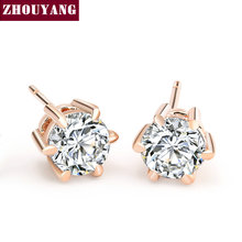 Six Claws 5mm 0.5ct Cubic Zirconia Rose Gold Color Crystal Stud Earrings Jewelry Wedding Wholesale ZYE036(China)