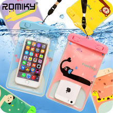 Romiky Cartoon PVC Waterproof Phone Bags for Meizu M5 M3 Note MX6 Pro 6 Plus Case Swimming Dive Surfing Strap Clear Bags Pouch