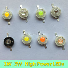 10 PCS 1W 3W LED Diodes Chip Cold white Natural sun white Warm white Purple Violet Ice blue Cyan full spectrum for LED lighting